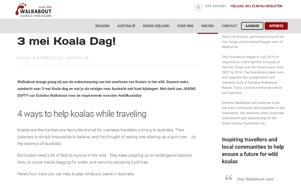 How Dutch tourists can help koalas