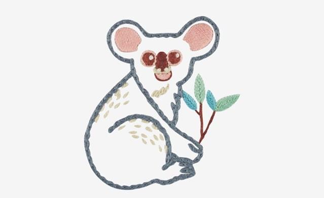 embroider a koala for Wild Koala Day